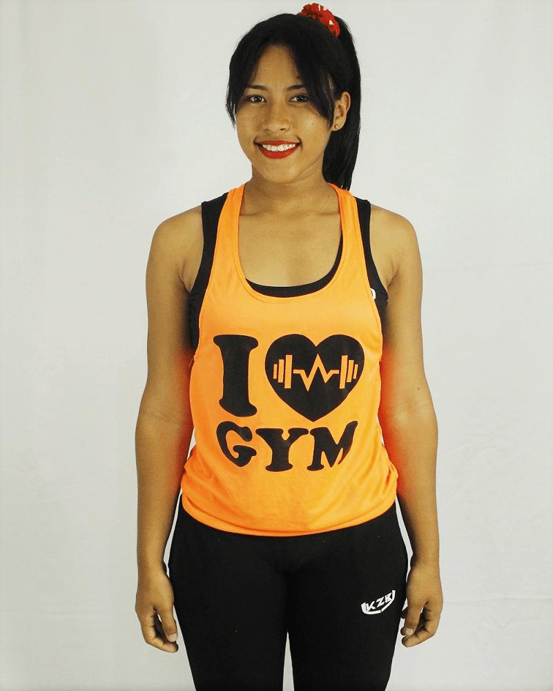 camisilla de mujer estampada naranja