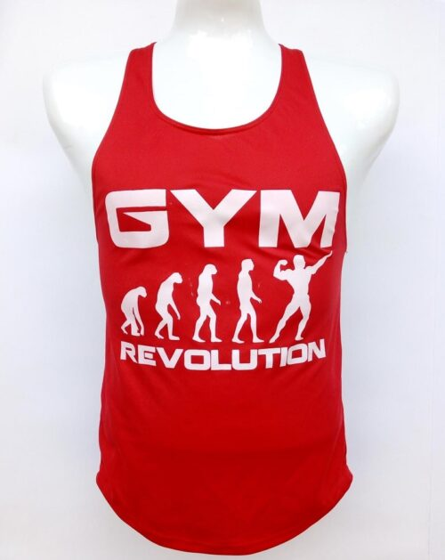 Camisilla roja estampado gym revolution