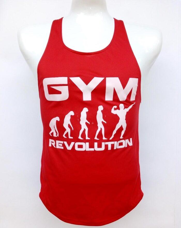 Camisilla roja estampado gym revolution